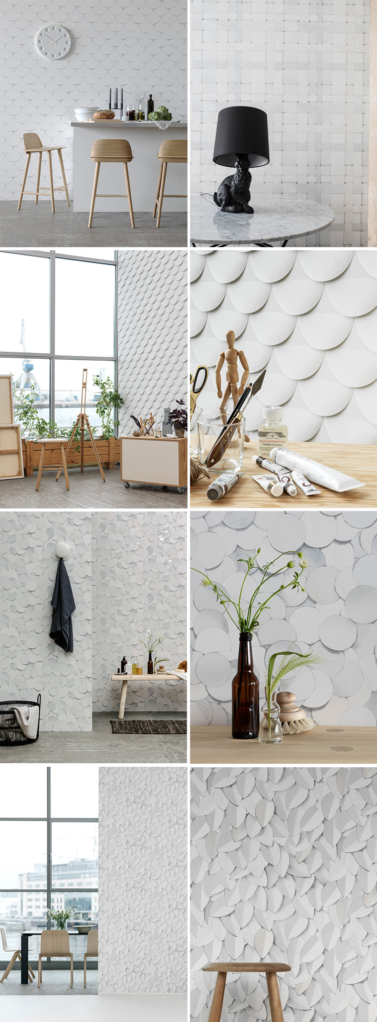Eco Wallpaper Dots, Weaves, Arces, Cut edge och Leaves.