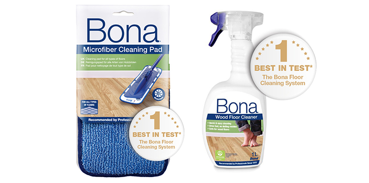Bona Microfiber Cleaning Pad och Bona Wood Floor Cleaner